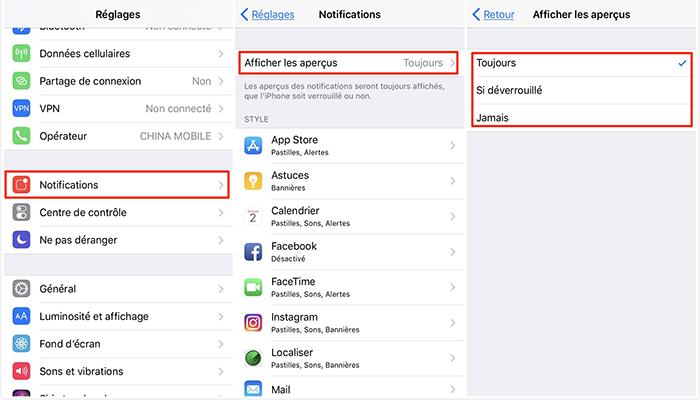 Fermez les notifications pour économiser la batterie