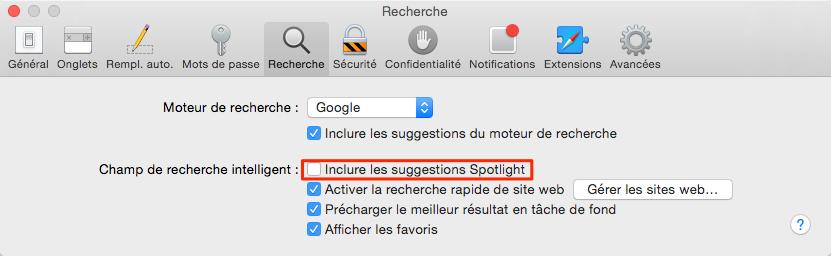 Problème de la confidentialité de Spotlight