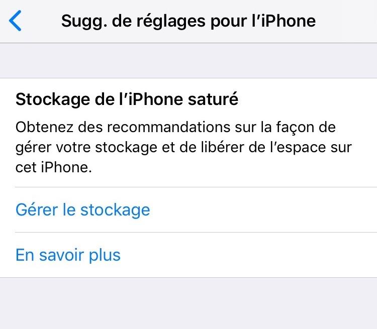 Problème d'iPhone - Stockage iPhone saturé