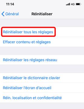 Réinitialiser les réglages iPhone X