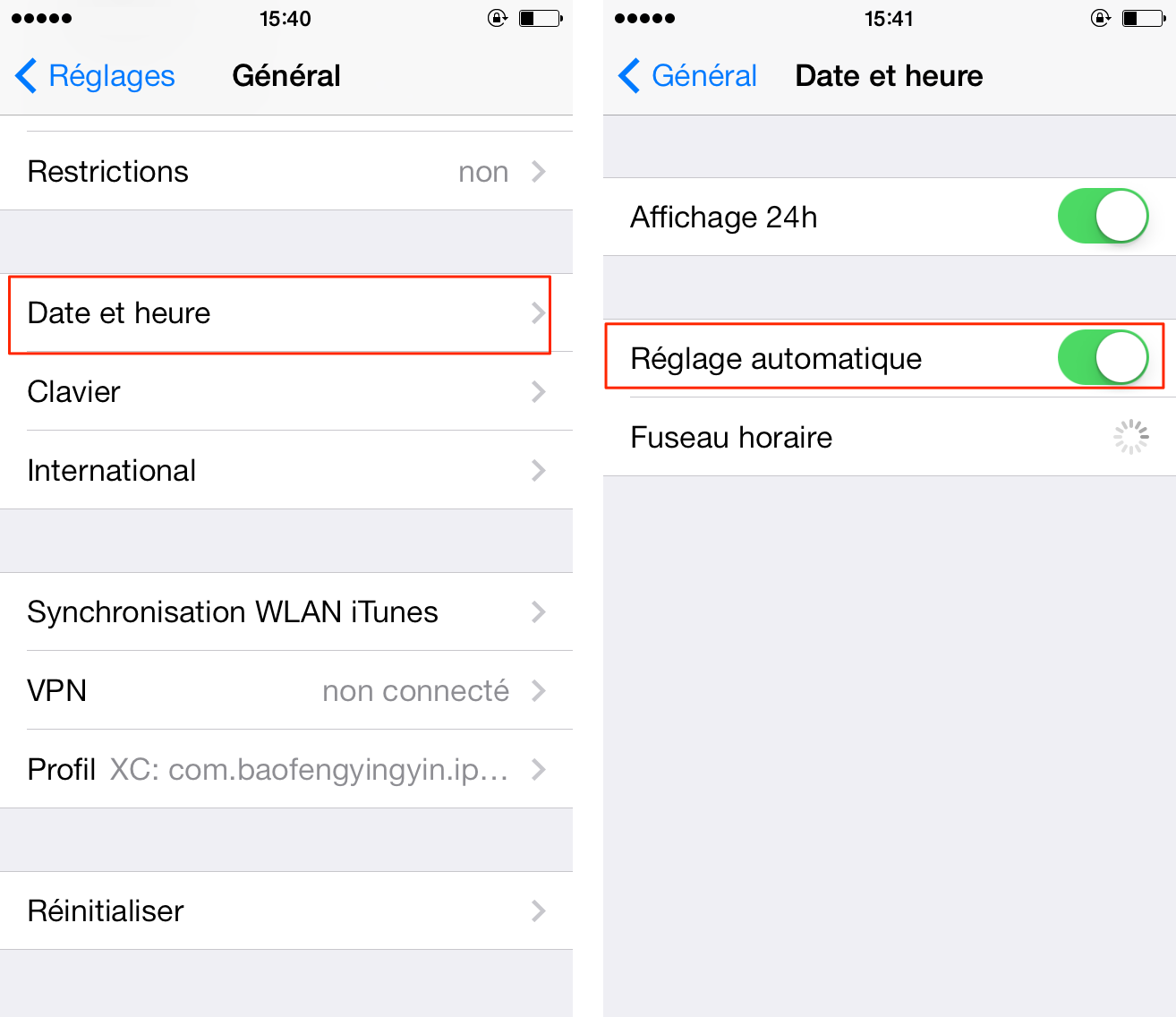 iOS 9/9.1/9.2/9.3 affiche incorrectement le temps sur iPhone/iPad