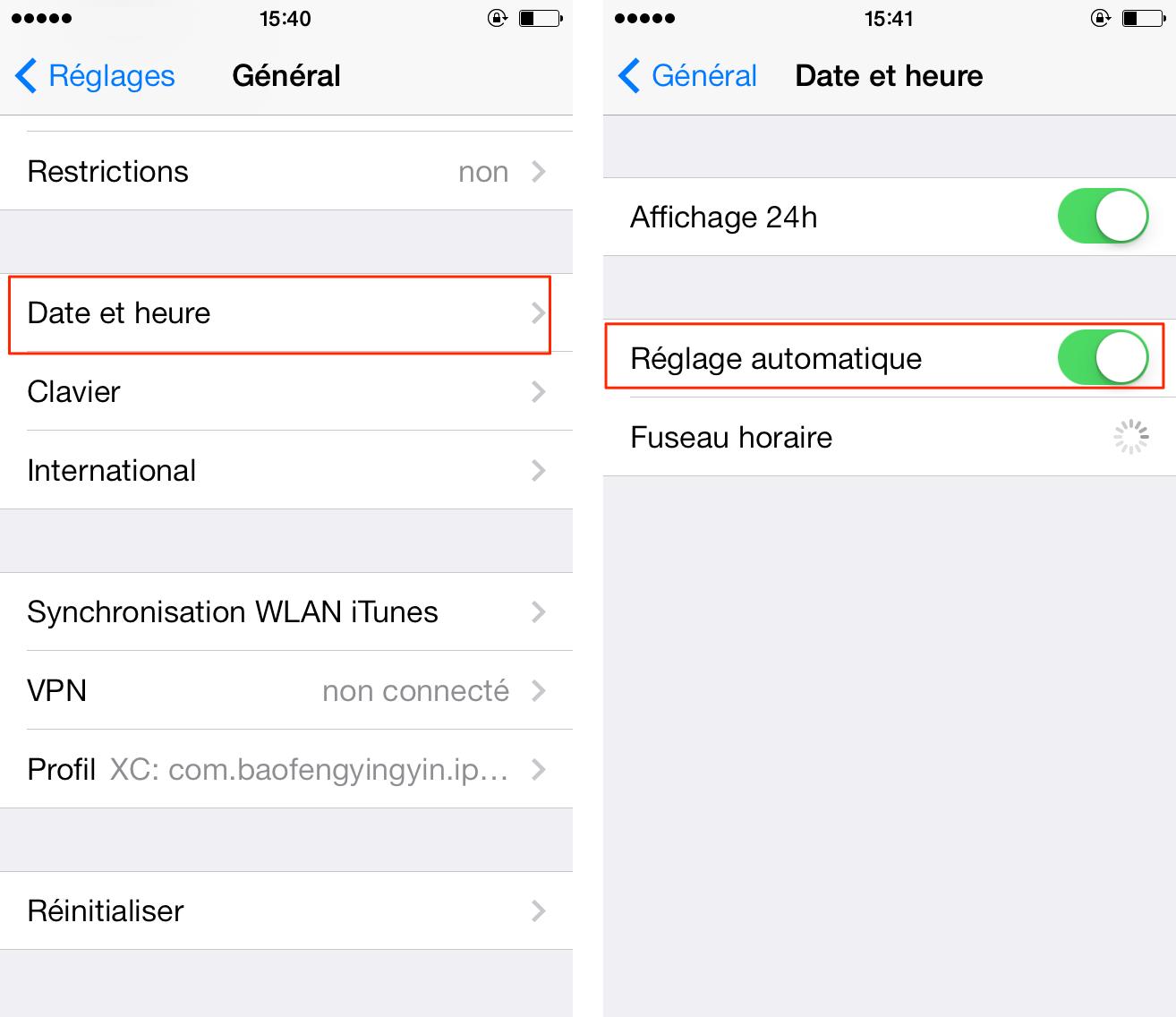 iOS 9/9.1/9.2/9.3 affiche incorrectement le temps sur iPhone/iPad