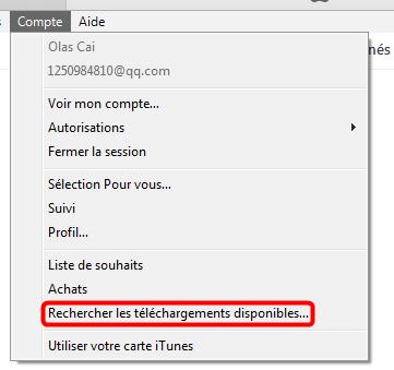 Rechercher les téléchargements disponibles iTunes