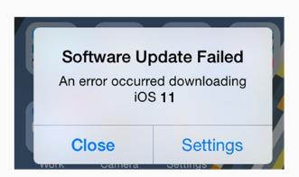 Échec de la mise à jour vers iOS 11