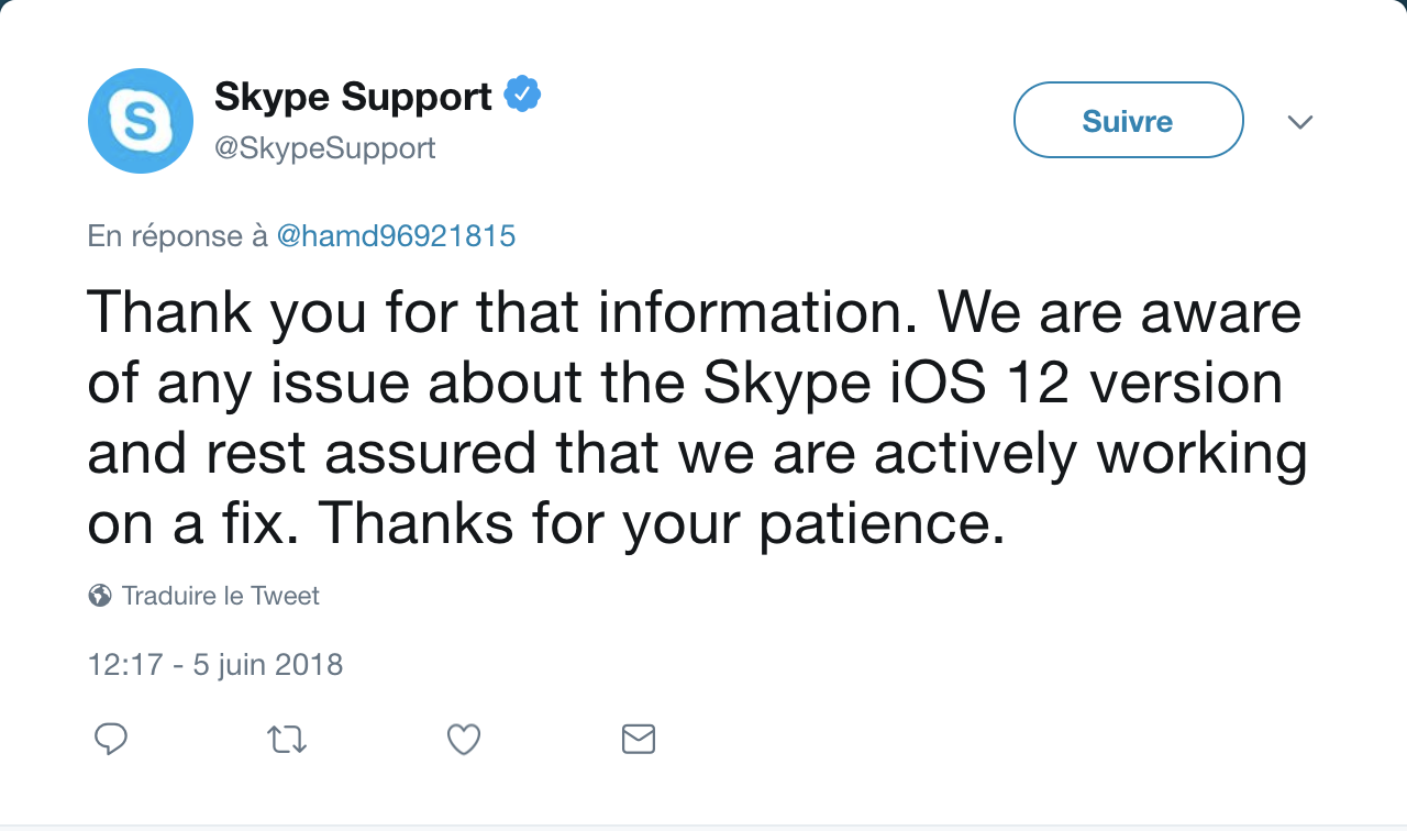 iOS 12 : l'application Skype fermée automatiquement