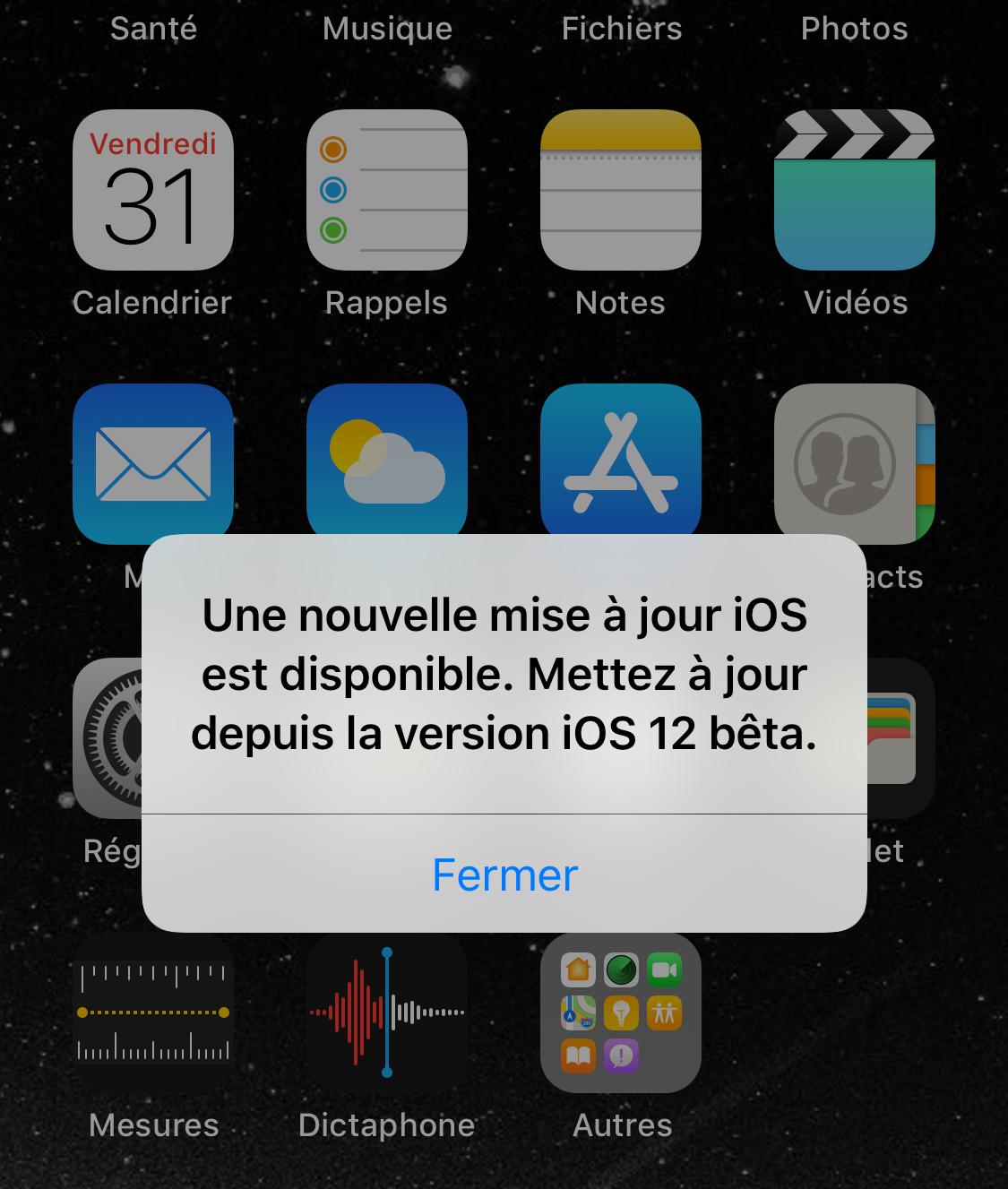 Pop-up proposant une mise à jour iOS 12/12.1.1