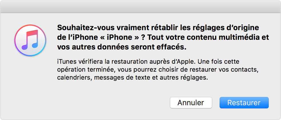 Restaurer iPhone iPad avec iTunes