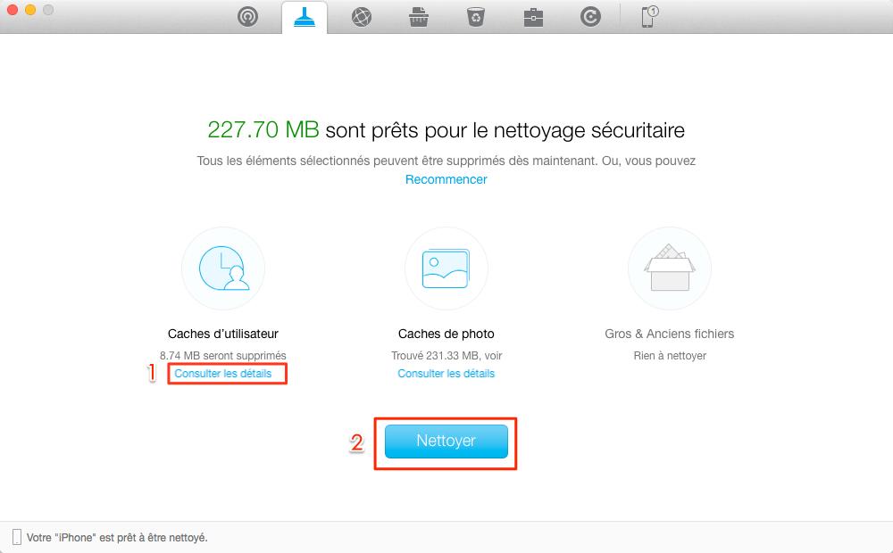 Effacer les caches d'iOS 11 avec PhoneClean