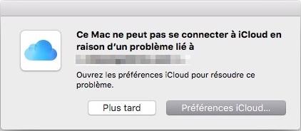 Problèmes iCloud - Connexion iCloud ne fonctionne pas