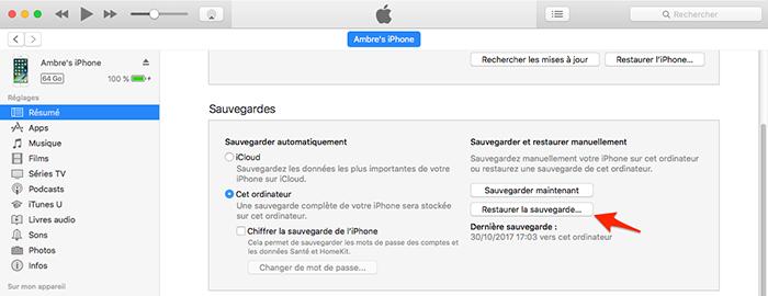 Restaurer votre sauvegarde via iTunes