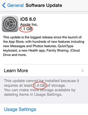 Problèmes courants d'iOS 8 - Manque d'espace libre