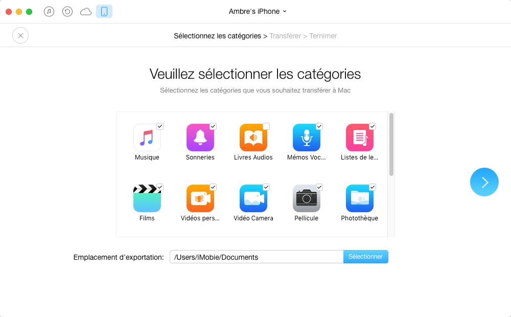 Sauvegarder sélectivement le contenu iOS vers Mac/PC avec AnyTrans