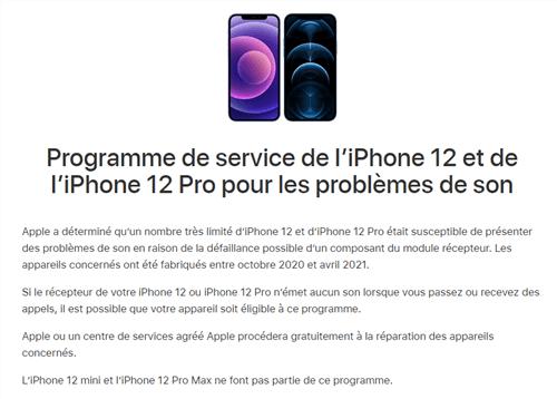 l'iPhone 12 et de l'iPhone 12 Pro pour les problèmes de son