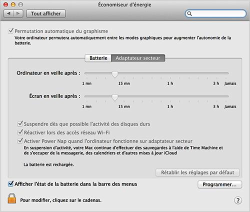Optimiser la vie de la batterie de MacBook – Activer Économiseur d'énergie