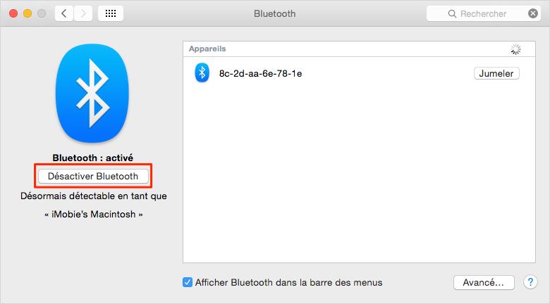 Améliorer la vie des batteries de votre MacBook - Désactiver Bluetooth