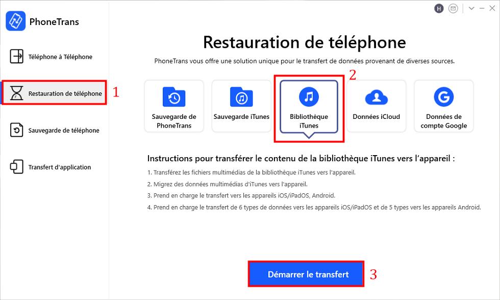 Choisir Bibliothèque iTunes