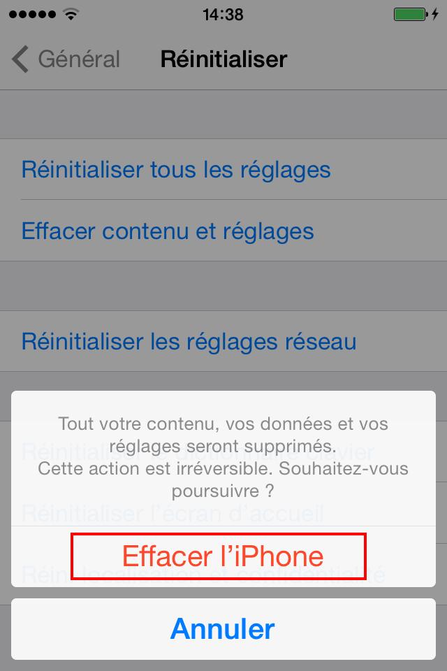 Effacer le contenu et les réglages de l'iPhone