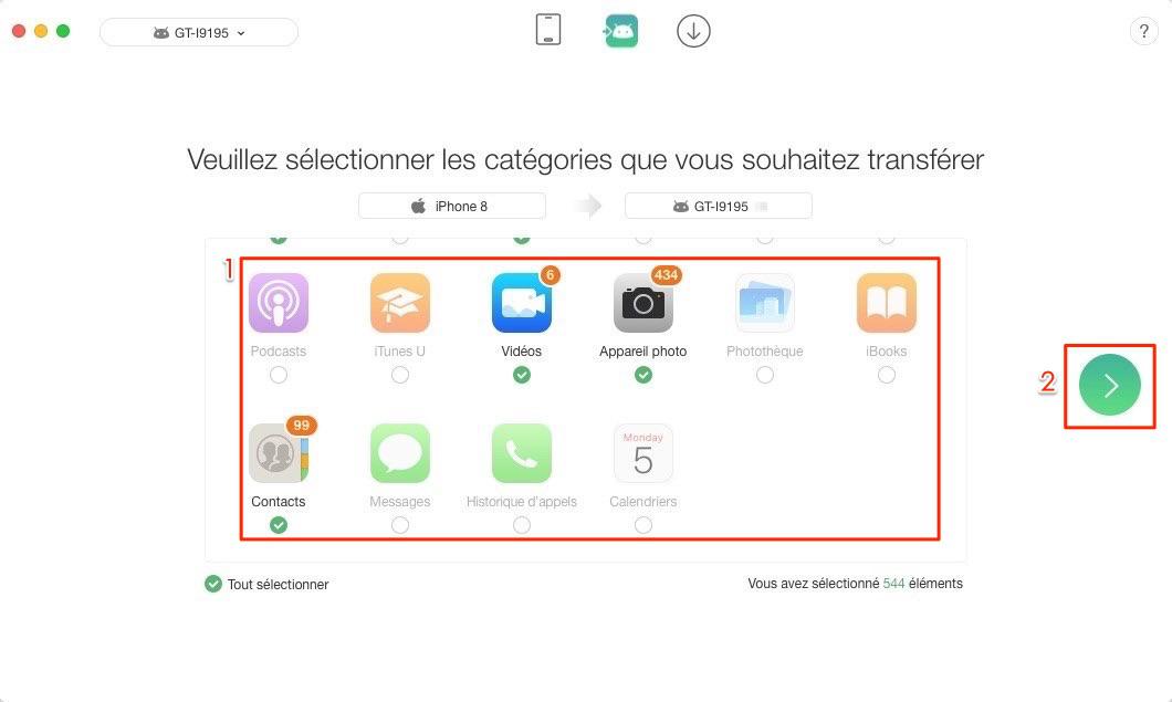 Transfert de données iPhone vers Android – étape 2