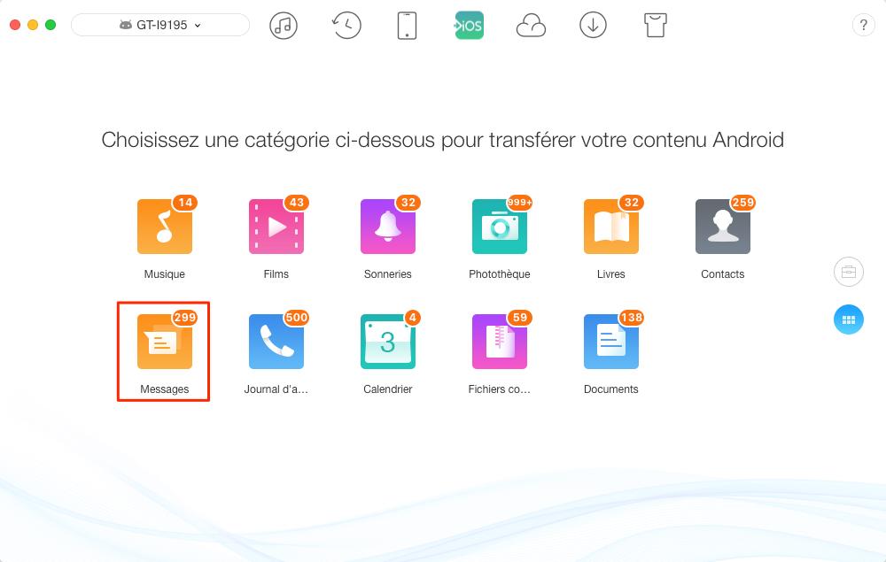 Transfert de données Android vers iPhone – étape 2