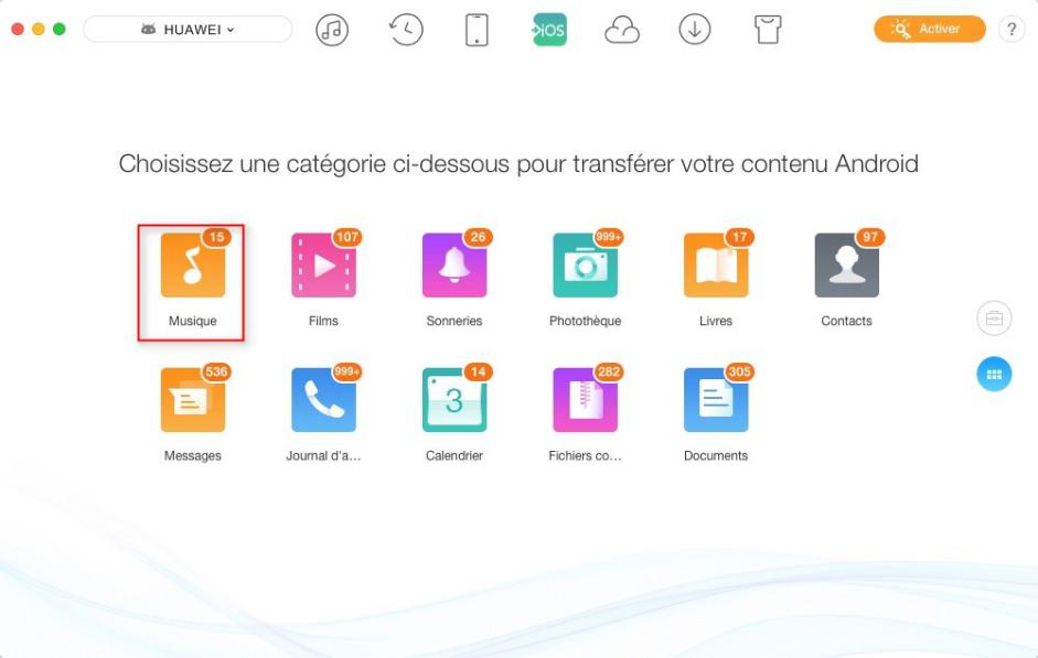 Transférer les données Android vers iOS - étape 3