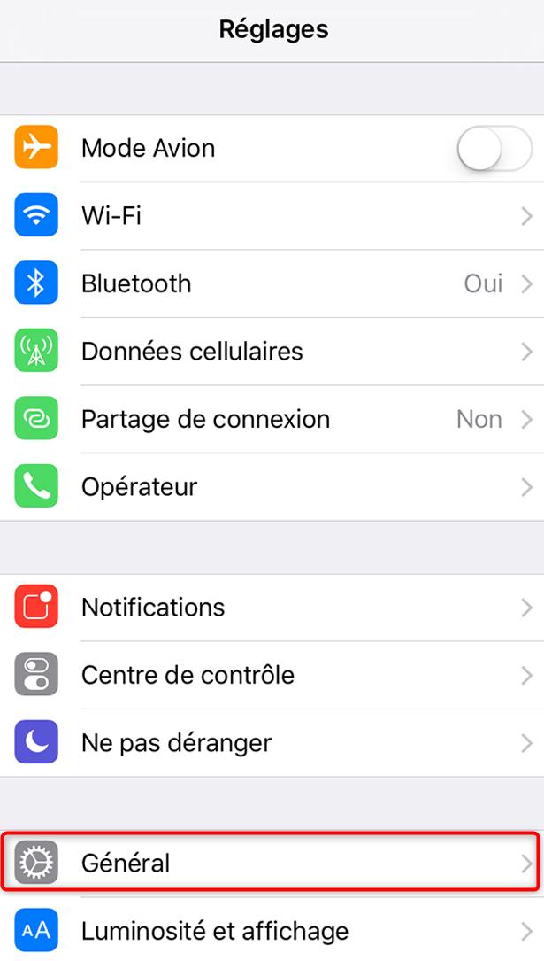 Recherche des mises à jour pour l'iPhone