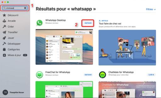 Téléchargement de WhatsApp sur l'App Store