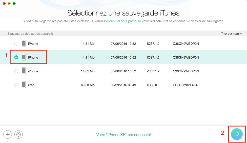 Comment récupérer les éléments Calendriers depuis iTunes – étape 3
