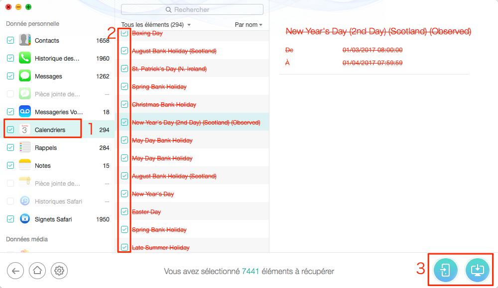 Comment récupérer les éléments de calendriers à partir de sauvegarde iTunes – étape 5