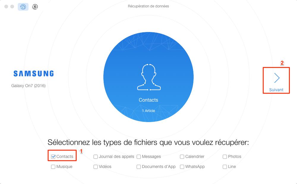 Récupération de contacts supprimés sur Samsung J - étape 2