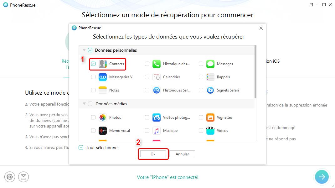 Récupération de données iPhone sans iTunes - étape 2