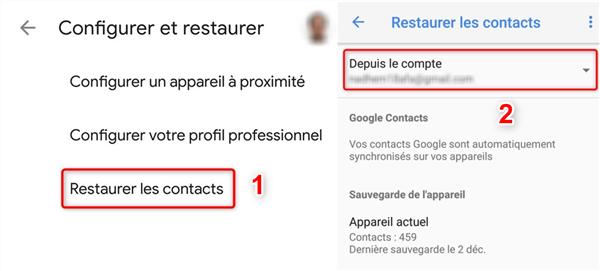 Sélection du compte Google