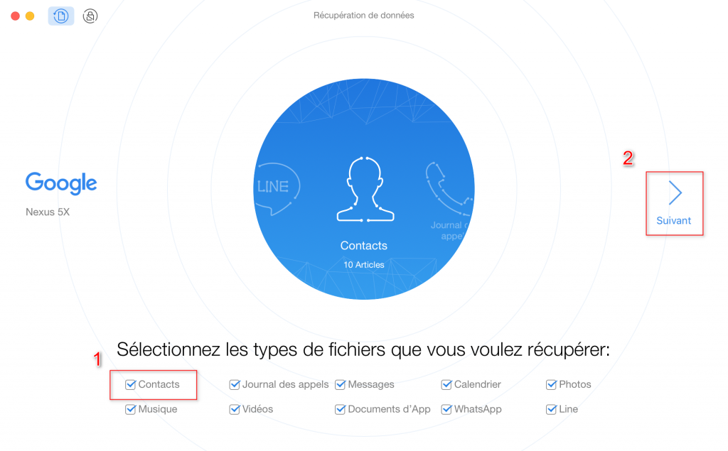 Comment récupérer les contacts effacés sur Google Nexus – étape 2