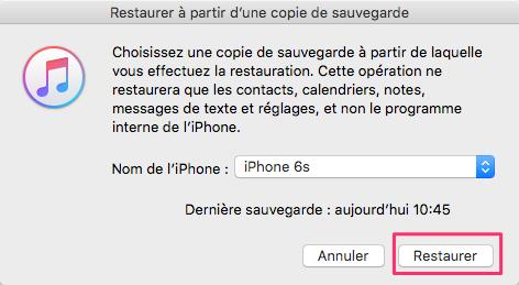 Comment restaurer les contacts depuis une sauvegarde iTunes