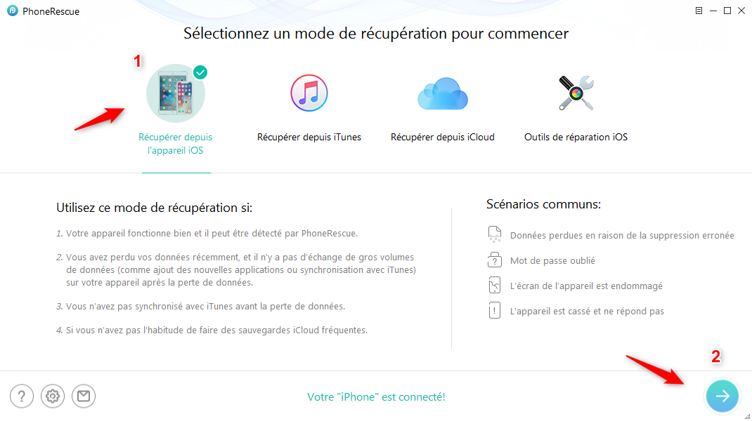 Comment restaurer contacts iPhone sans iTunes - étape 1