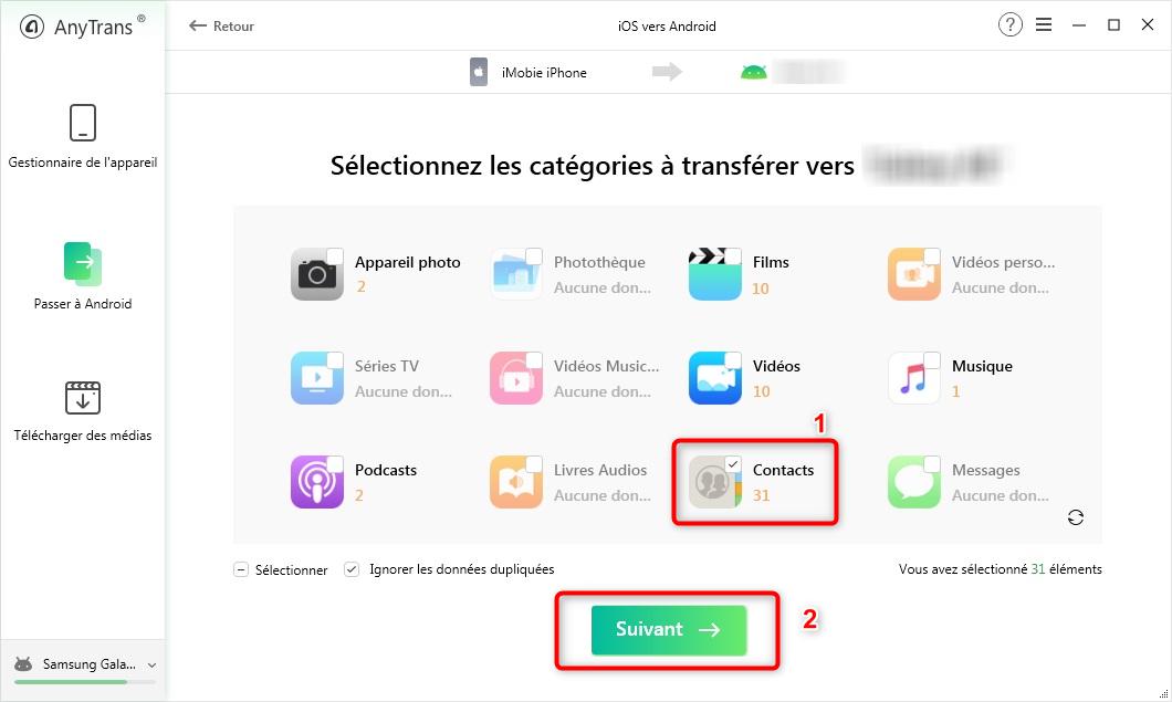 Récupérer les contacts iPhone vers iPhone - étape 2