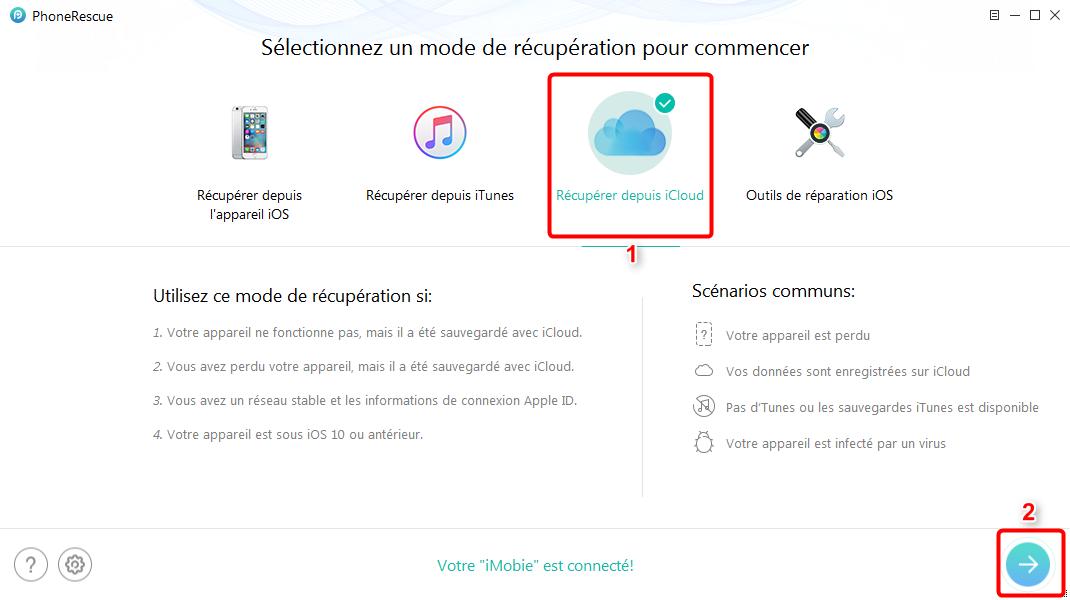 Comment récupérer les contacts d'iPhone X depuis iCloud - étape 1