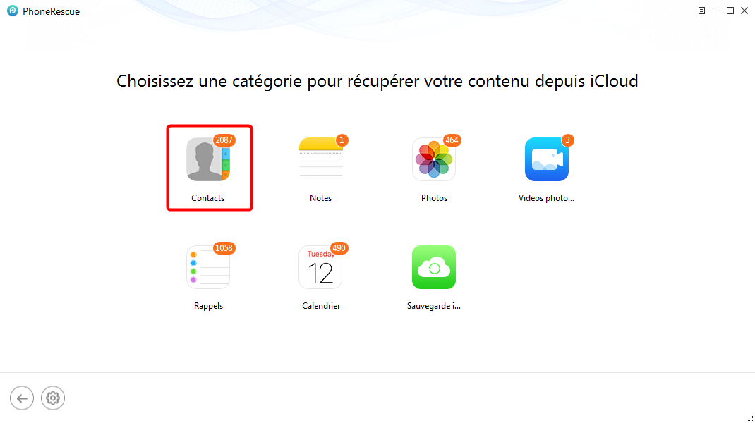 Récupérer les contacts sur iPhone X depuis la sauvegarde iCloud - étape 2