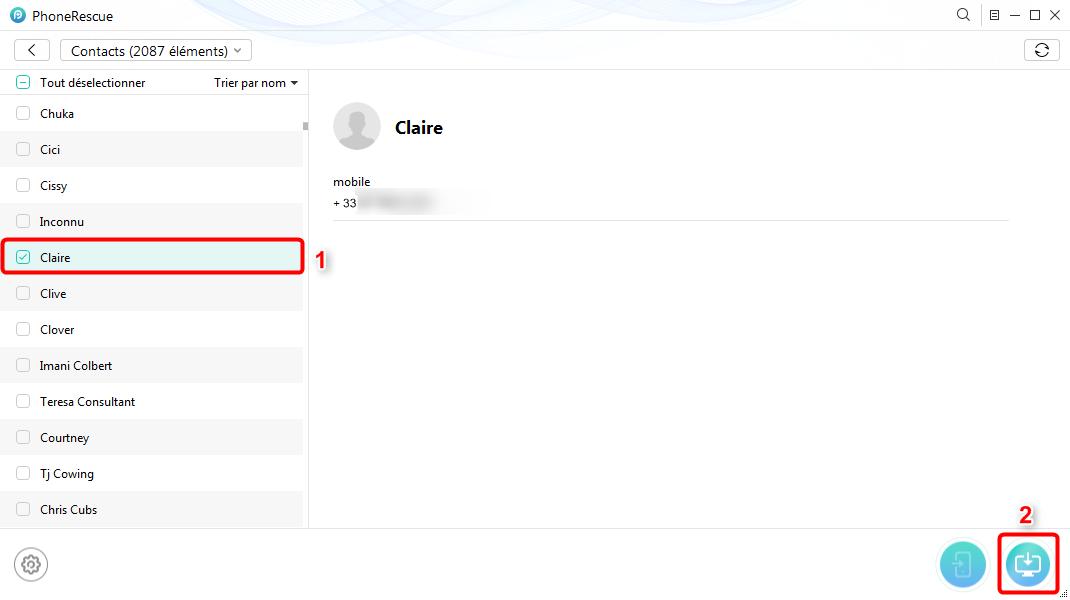 Récupération de contacts sur iPhone X depuis iCloud - étape 3