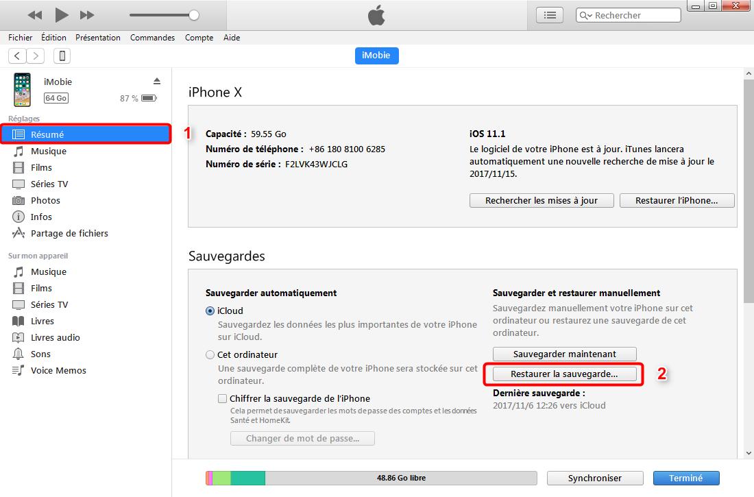 Comment récupérer les contacts d'iPhone X avec iTunes – étape 2