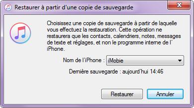 Récupérer les contacts effacés sur iPhone X avec iTunes – étape 3