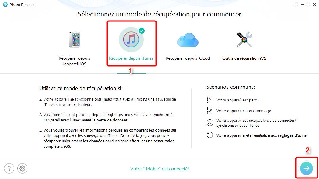 Moyen de récupérer les contacts supprimés depuis sauvegarde iTunes - étape 1