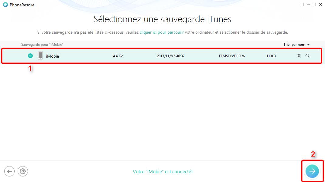 Retrouver les contacts supprimés à partir de sauvegarde iTunes - étape 2