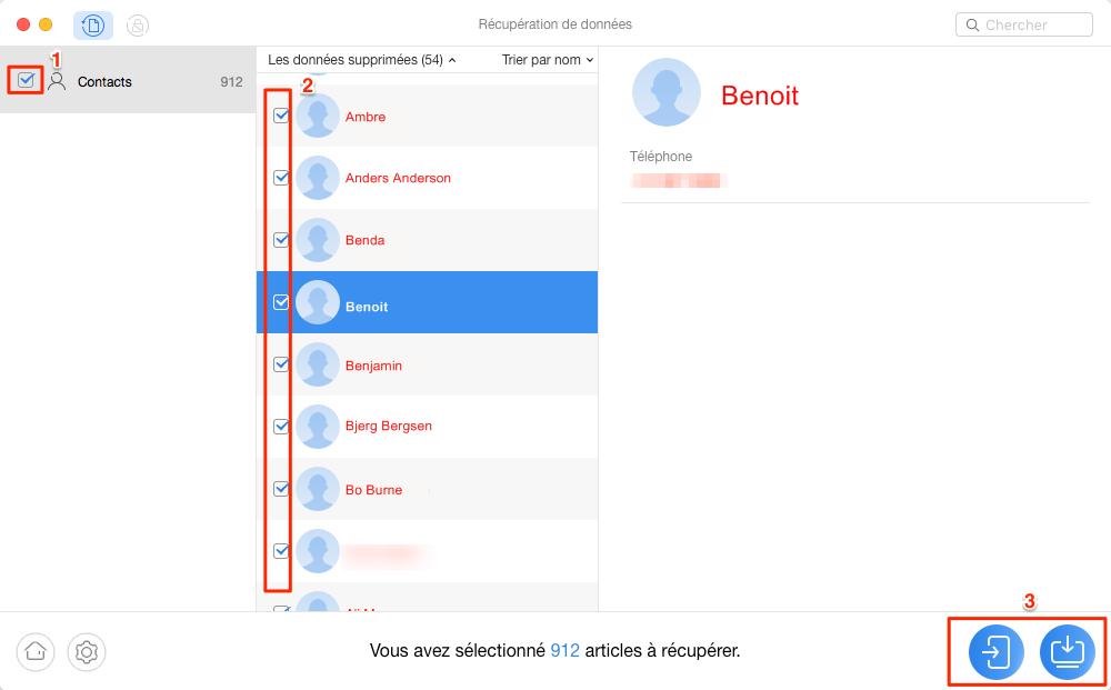 Récupération de contacts supprimés sur Motorola – étape 2