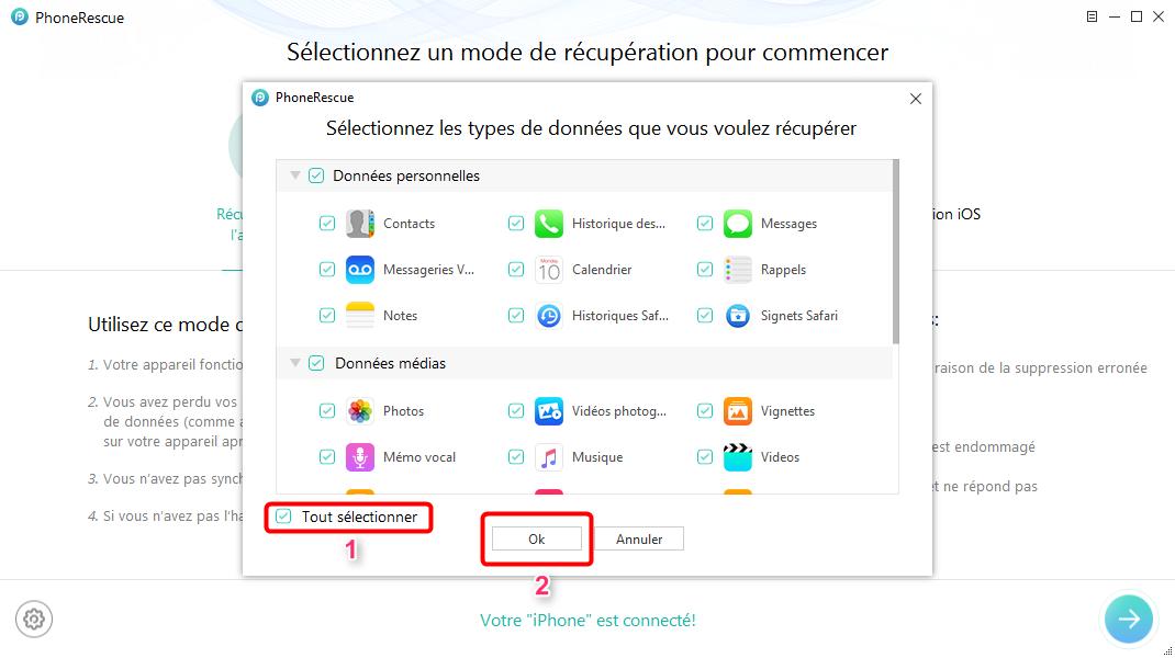 Récupérer rapidement les contacts effacés sur iPhone X - étape 2