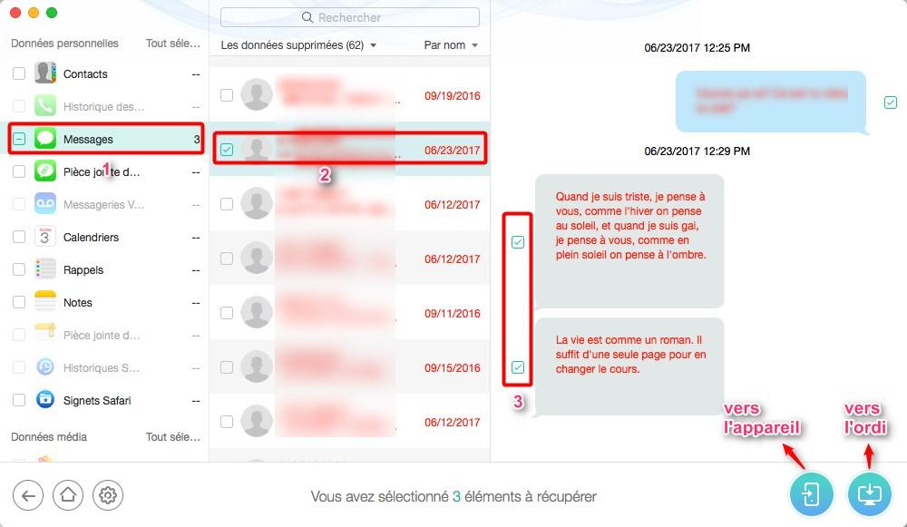 Retrouver les convesations perdues sur votre iPhone - étape 2