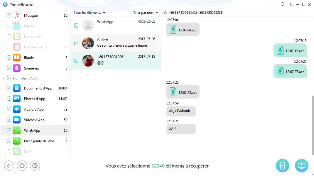 Récupérer les messages WhatsApp depuis iTunes – étape 4