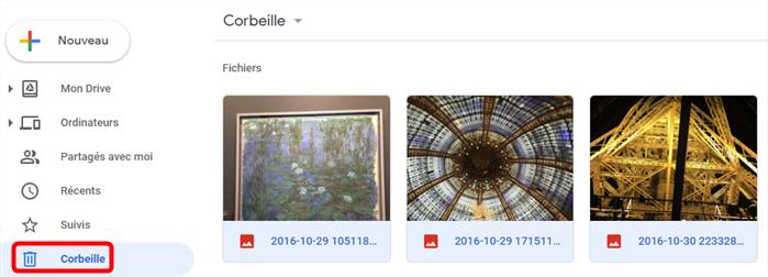 Récupérer les photos supprimées Samsung S8 - Google Drive