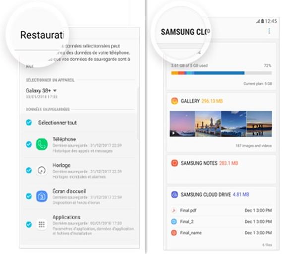 Récupérer photos Samsung S9 depuis Cloud – étape 1 (Source de photo: Samsung)