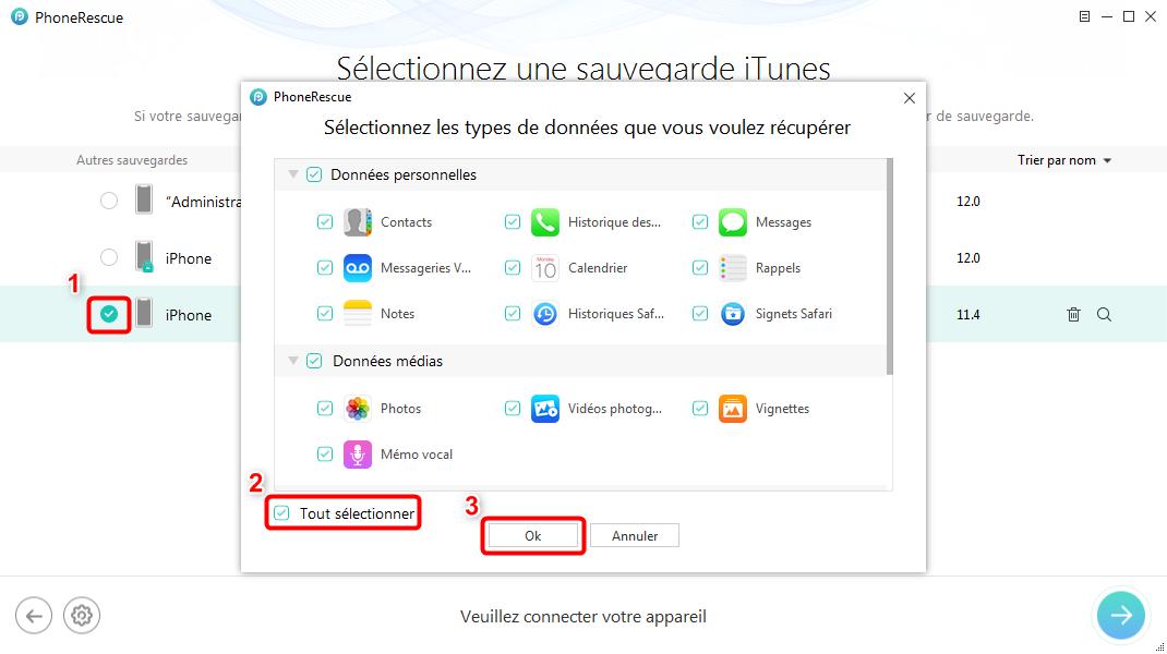 Récupérer les données iPhone après la restauration iOS 12