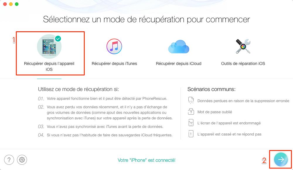 Récupérer les données disparues après la mise à jour iOS 11-étape 2